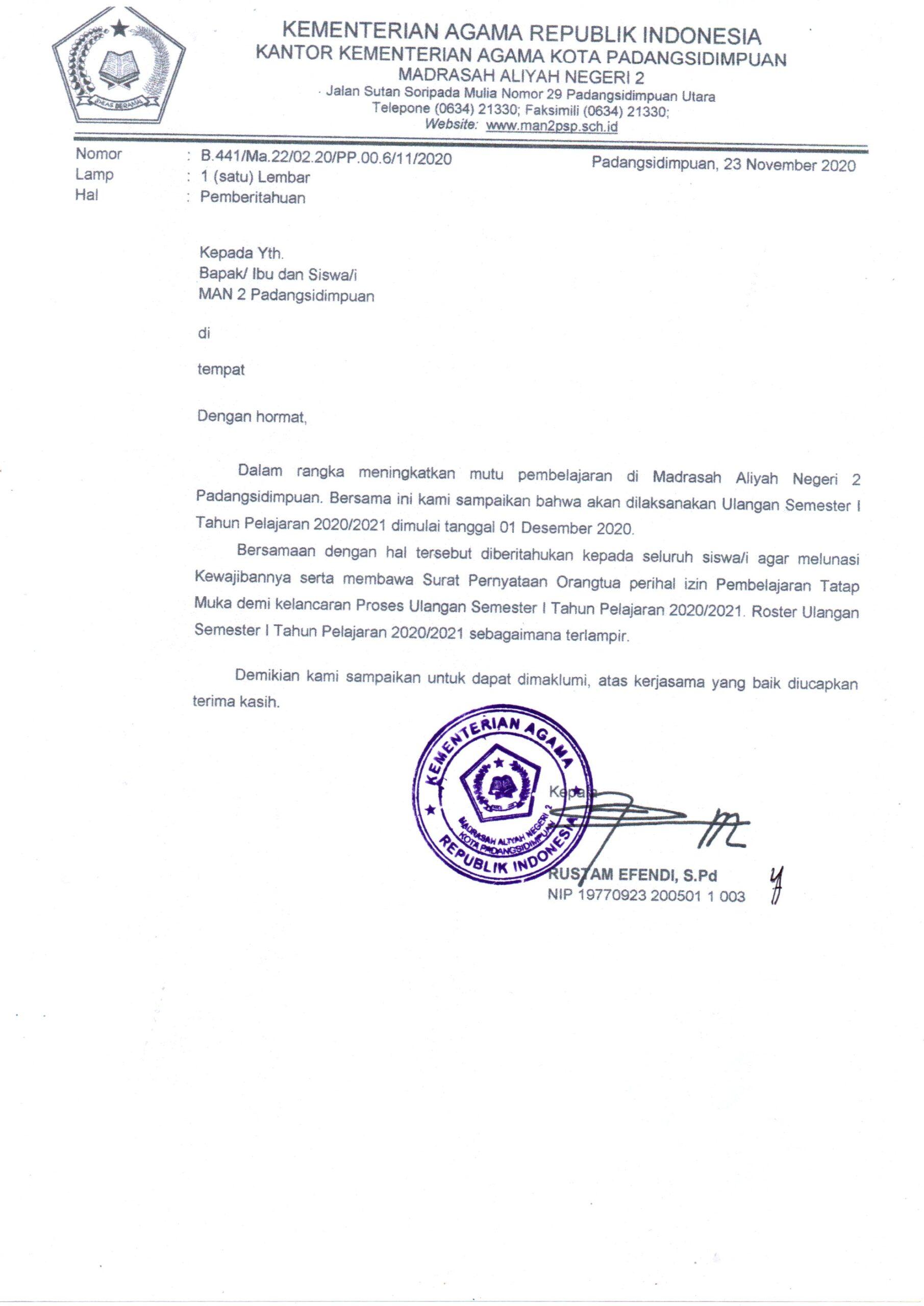 Pelaksanaan Penilaian Akhir Semester T P 2020 2021 Man 2 Padangsidimpuan